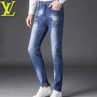 LV Louis Vuitton Popular Fashion Men Butterfly Embroidery Denim Pants Trousers Jeans