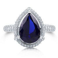 Pear Cut Sapphire CZ 925 Sterling Silver Halo Cocktail Ring 4.11 Ct #r666