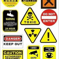 DANGER Warning Signs Stickers For Ipad Laptop skins Tablet PC stickers BICYCLE  MOTORCYCLE Waterproof Sunscreen PVC Car Stickers