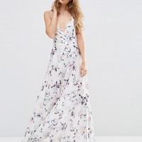 ASOS Wrap Front Floral Pleated Maxi Dress at asos.com