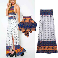 Print Mini Spaghetti Strap Butterfly Vest Split Skirt Set [4919035780]