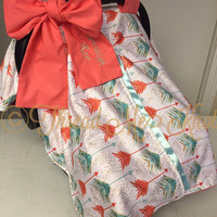 Watercolor Car Seat Canopy with Slit & added minky
