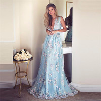 2017 Sky Blue Embroidery Appliques Haute Couture Prom Dresses Long Deep V Red Carpet Formal Gowns Women Gorgeous Evening Gowns