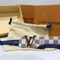 BRAND-NEW AUTHENTIC Louis Vuitton Mens Damier Azur Brass Gold, 100CM/ US 36