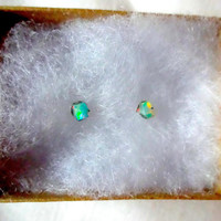 Rough Green Opal and Sterling Silver Small Stud Post Earrings