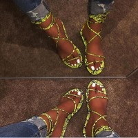 Popular fashion snake-print strappy sandals and slippers