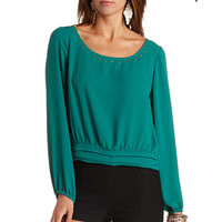 LONG SLEEVE STUDDED STRAPPY BACK TOP