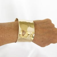 Gold arm cuff , hand forged brass unisex arm band, shiny gold brass, gift under 40