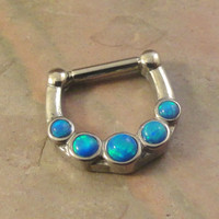14 or 16 Gauge Turquoise Blue Fire Opal Septum Ring Clicker Daith Bull Ring Nose Piercing