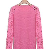 Floral Crochet Lace Long Sleeve Knitted Sweater