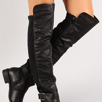 Mixed Media Buckle Knee High Riding Boot