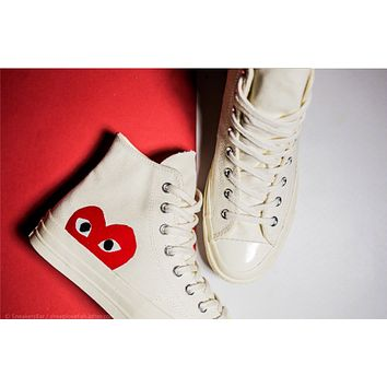 Converse Play Fashion Casual Loving Heart Reflective Sneakers High Top With Low Top Sport Shoes White G
