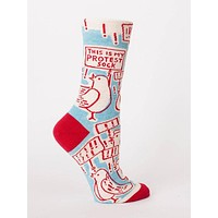 This Is My Protest Sock Women's Crew Sock in Red, White, and Baby Blue