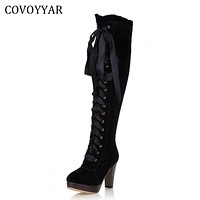 Fashion Knee High Boots British Women High Heeled Riding Knight Boots Fall Winter Lace Up Women Shoes