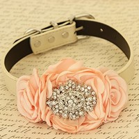 Peach Flower dog collar, Pet wedding accessory, Rhinestone, birthday gift, handmade