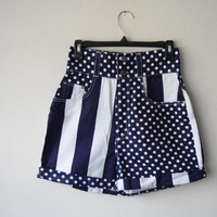 80s/90s High Waisted Denim Shorts // Navy Blue & White // Stripes and Polka Dots // Nautical Preppy All American Girl Style, Back to School