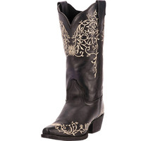 Laredo Womens Jasmine Flower Embroidered Leather Cowgirl Boots