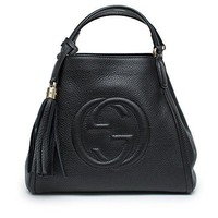 Gucci Soho Convertible Shoulder Black Tote Small Leather Italy Bag Handbag New