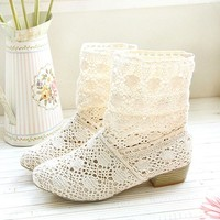 PenBangs — Hollow Knitted Flattie Shoes Casual Sandals Ankle Boots