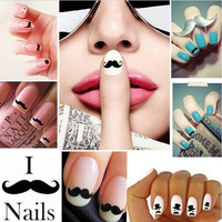Nail Art Stickers Decoration Mustache DIY Manicure + GIFT Nails Board