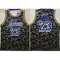 2019 Lakers 23 LeBron James Camo Fashion Basketball Jersey