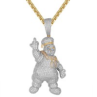 Doughboy Chef Bling Middle Finger Custom Pendant Necklace