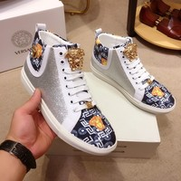 Versace  Man popular Casual Shoes Men popular Boots popularable Casual leather Breathable Sneakers Running Shoes Sneakers