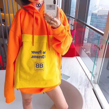 Balenciaga Women Fashion Casual Multicolor Stitching Long Sleeve Hooded Clothes Cotton Sweater