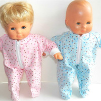 """American Girl Bitty Baby TWINS Clothes 15"""" Doll Clothes Pink and Blue Polka Dot Flannel Up Feetie Pajamas Pjs Sleeper Winter"""