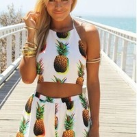 new style  summer clothing  two-piece dress  pineapple  backless  Dew belly  short dress [8424438343]