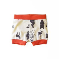 Grid Collective Organic Baby Shorties in Natural with Orange