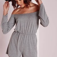 Missguided - Jersey Bardot Playsuit Grey