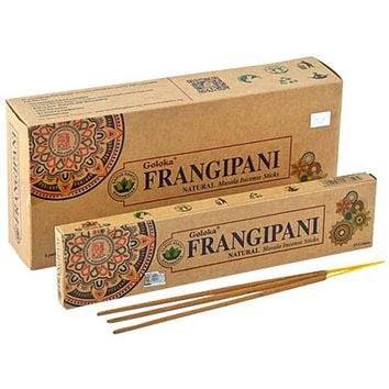 Goloka Organika Frangipani Incense - 15 Gram Pack (6 Packs Per Box)