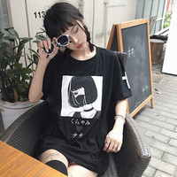 Harajuku Japanese Women Cartoon Tees Tops Unique Graphic Short Sleeves T Shirt White Tees Kawaii Cute Shirt Cotton Drop Shipping