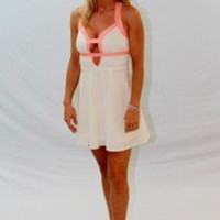 Cream Chiffon Dress, Coral Straps - Always a Runway Clothing