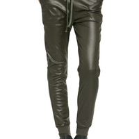 Pu Faux Leather Trouser Pants Olive