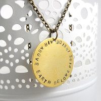 Air Above Earth Below and Fire Inside  Handstamped Metal Jewlery, Quote Necklace, Antique Brass