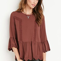 Crochet-Trimmed Peasant Top