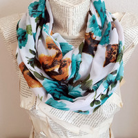 Green White, Floral Scarf, Infinity Scarf, Owl and Squirrel Print, Chiffon Lightweight, Circle Scarf, Women Accessories