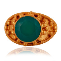 Natural Green Onyx Gemstone 925 Sterling Silver Ring With Yellow Gold Plated