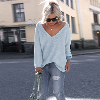 V-Neck Long Sleeve Solid Color Pullover Sweater in Multicolor