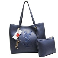 YSL Fashion New High Capacity Solid Color Women Shopping Leather Shoulder Bag Blue