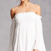 Smocked Open-Shoulder Dress