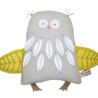 Owl Plush Toy, Handmade Owl Art Doll, Woodland Creature, Soft Sculpture, Owl Doll, Yellow Wings, White Feathers, Grey, Art Doll, Poosac Owl