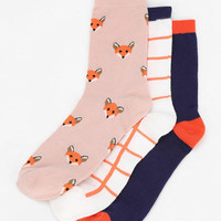 Urban Outfitters - Cooperative Foxy Crew Sock - Pack Of 3