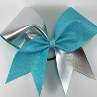 Glitter and silver fabric cheer bow.