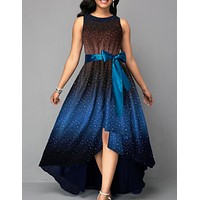 felainse29  large size starry sky print sleeveless lace-up bow-knot long dress
