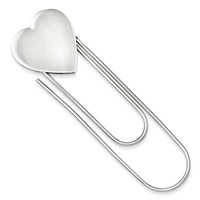 Sterling Silver Heart Clip Book Mark