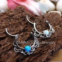 "16g Opal Septum Ring Clicker 3/8"" 1.2mm Silver Nose Rings Daith Hinged Body Jewelry Pierced Helix Piercings Blue Gem White Opals Gemstones"