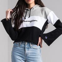 Champion Reverse Weave Script Logo Cropped Women's Hoodie in Pink Bow Swiss Blue Oxford Grey, Pin Stripe Oxford Grey White Black